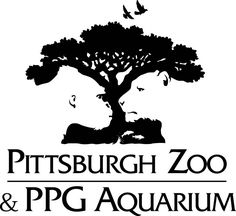 Pittsburgh zoo and ppg aquarium logo large (Hidden image of a gorillas face and lion in the negative space beneath the tree)