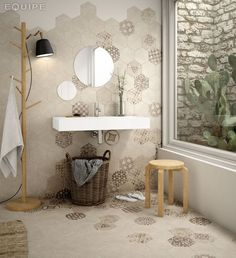 Art Deco 4 Hexagonal Cement GEO Sand 117,5x20 - Carrelage imitation carreaux de ciment, grès Cérame