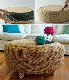 Turn a Tire into a Rope Ottoman with Nautical Appeal. Coastal Ottoman Ideas featured on Completely Coastal. Rope Tire Ottoman, Diy Ottoman, Ottoman Ideas, Coastal Bedrooms, Coastal Living Rooms, Coastal Style, Coastal Decor, Coastal Cottage, Coastal Homes