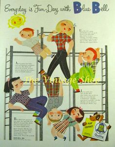 Cute Mary Blair Blue Bell Kids Clothing Ad..1950s Vintage Advertising. $6.95, via Etsy.