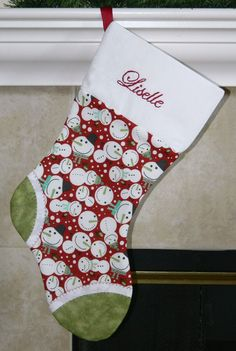 Girls or boys red and green personalized Christmas stocking. Snowman. CUSTOM