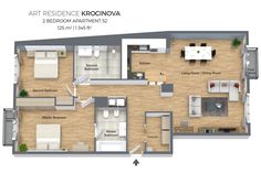 Floorplan of a three bedroom apartment No. 52 in Art Residence Krocinova, Prague.