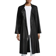 Armani Collezioni Belted Leather Trenchcoat ($2,395) ❤ liked on Polyvore featuring outerwear, coats, black, leather coat, trench coat, leather trench coats, belted trench coat and belted coat