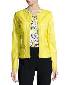 B32A4 St. John Collection Luxe Napa Leather Zip Jacket