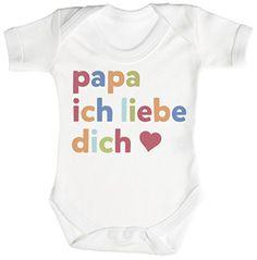 TRS - Papa Ich Liebe Dich Baby Bodys / Strampler 0-3 Monate weiß