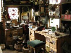 Rima's art desk inside her horsebox rolling house.
