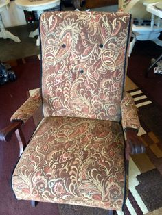 Antique Platform Rocker. Completely redone. New stain and upholstery. $190 Recycled Furniture, Furniture Redo, Furniture Ideas, Vintage Rocking Chair, Porch Ideas, Rockers, Dyi, Accent Chairs, Upholstery