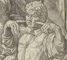 the double 'cheek-screw' (1545) -- detail of previous. Who is the gesture directed at? Note that the 'action' of the print as a whole is based round the young woman (bottom left) stealing the older man's purse. Is our gesturer registering to the rest of the company  that he has spotted something going on? In modern times it seems to be only one hand that is used to make the cheek-screwing gesture, so that the modern significance may not be the same as this 16C double version.