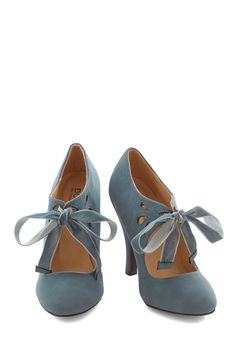 Tea on the Train Heel in Storm. Choosing between chamomile and chai is your biggest dilemma this morning, since youre feeling confident in these stormy-grey heels from Dolce by Mojo Moxy! #blue #modcloth