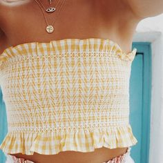 Yellow gingham cropped strapless top