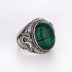Free Shipping Charms Mens/Womens Silver Malachite Ring Fashion Jewelry Size Pick