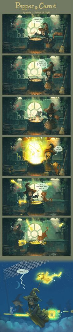 Pepper&Carrot (Chapter 1) by David Revoy  Probably the cutest web comic I have seen in a while!