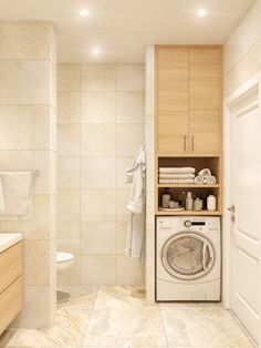 Laundry room bathroom - Bathroom Enclosure Ideas for Light, Elegant, Warm badezimmerideen bathroom elegant enclosure ideas light interiordesign Warm Bathroom, Laundry Room Bathroom, Laundry Room Design, Bathroom Design Small, Bathroom Layout, Bathroom Interior Design, Modern Bathroom, Bathroom Ideas, Lilac Bathroom