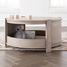 Rotunda Round Play Table (Grey Stain) + Reviews | Crate and Barrel Small Kids Table, Kids Table With Storage, Kids Table And Chairs, Play Table, Kid Table, Table And Chair Sets, Couch Table, Crate And Barrel, Kids Room Furniture