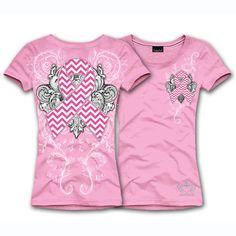 Katydid Chevron Pink Ribbon Awareness Women's T-Shirt