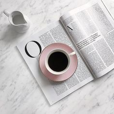 Coffee cup and magazine on a marbled flatlay Coffee And Books, Coffee Love, Coffee Break, Coffee Shop, Coffee Cups, Coffee Reading, Flat Lay Photography, Coffee Photography, Book Aesthetic