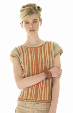 ROWAN S/S 2014 MAGAZINE 55: Sally by Lisa Richardson in Rowan Handknit Cotton.  Side to side with short row shaping, a really fun knit!
