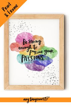 Download and print this inspirational watercolor quote from Amy Tangerine. This colorful hand lettered quote would make beautiful colorful wall art for your home office or craft room or any where in your home! positive quotes | watercolor quotes | hand lettering quote #amytangerine #quotes #printables #watercolor Hand Lettering Quotes, Creative Lettering, Brush Lettering, Watercolor Quote, Watercolor Brushes, Watercolors, Printing Services, Online Printing, Rainbow Quote