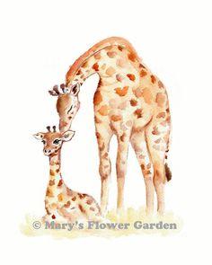 Baby Kinderzimmer Dekor, die Giraffe, Giclee print Giraffenbaby, neutrale Baby Kinderzimmer, Giraffe, Giraffe Aquarell, Kunst Giraffe Kindergarten