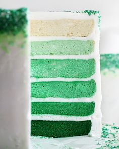 Green Ombre Layer Cake with Step-by-Step Instructions and Green Tinting Guide!
