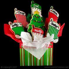 cookie bouquet Christmas Cookies Packaging, Christmas Sugar Cookies, Valentine Cookies, Christmas Cupcakes, Easter Cookies, Birthday Cookies, Christmas Baking, Candy Cookies, Cute Cookies
