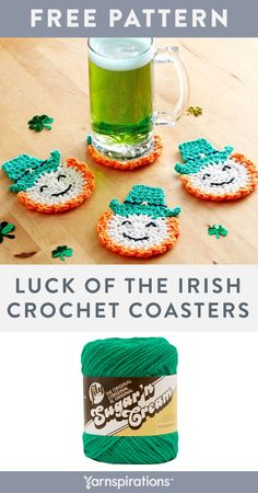 Free Luck Of The Irish Crochet Coasters pattern using Lily Sugar'n Cream yarn. These crocheted leprechaun coasters are the perfect place to rest your green drinks for St Patrick's Day! Crochet Coaster Pattern, Easy Crochet Patterns, Potholder Patterns, Doily Patterns, Crochet Dishcloths, Crochet Doilies, Thread Crochet, Crochet Blankets, Holiday Crochet