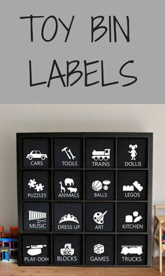 ONE Adhesive Vinyl Toy Bin Label 16 designs Colors available Playroom Decor Toy Organization Ikea Kallax Drona bin Toy Organizer Ikea, Toy Room Organization, Toy Bin Labels, Toy Bins, Party Invitations Kids, Playroom Decor, Playroom Ideas, Toy Rooms, Toy Kitchen