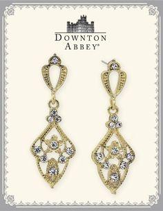 Downton Abbey Crystal Encrusted Drop Earrings