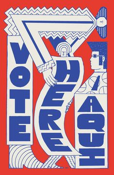 The block text, fun illustrations, and contrasting color scheme create an eye-catching poster design. Poster Art, Typography Poster, Typography Design, Graphic Design Posters, Graphic Design Inspiration, Branding, Blond Amsterdam, Protest Posters, Voting Posters