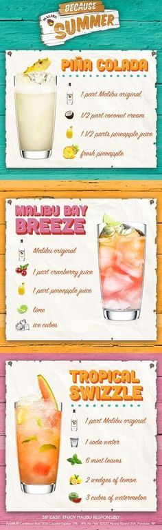 Looking for refreshing, easy to make rum recipes this Summer? Look no further, as these simple recipes will brighten up your summer. All you need is Malibu rum, fresh simple ingredients, and friends to bring the island to you. Easy to make, easy to enjoy! Click for the full recipes, and more! #rumdrinks