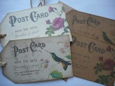 vintage postcard save the date tags with jute, kraft or white card x10 rose bird £6.99