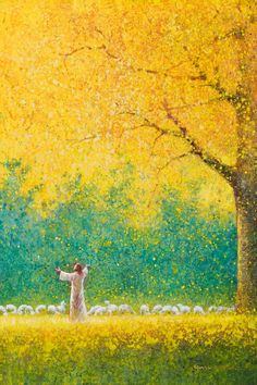 original artwork painting of jesus christ in a field of gold with outstretched hands under a tree with yellow leaves and a flock of sheep Jesus Painting, Jesus Pictures, Prophetic Art, Bible Art, Pictures Of Jesus Christ, Artwork, Pictures, Jesus Christ Painting
