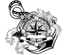 Compass Tattoo with Anchor