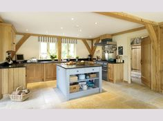 barn homes, spacious modern kitchen with oak panels Bungalow Interiors, Bungalow Renovation, Cottage Interiors, Bungalow Designs, Country Interiors, Barn Kitchen, Rustic Kitchen Design, Room Kitchen, Kitchen Images