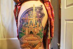 I'm anti-Disney tattoos on my person, but this Cinderella Castle is freakin' amazing! Disney Tattoos Cinderella, Disney Castle Tattoo, Tattoo Disney, Disney Inspired Tattoos, Chateau Disney, Magic Kingdom Castle, Tattoos Mandala, Tattoo Video, Disney Sleeve