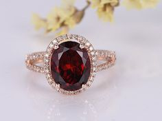 10x8 Oval Cut Natural Red Garnet Engagement ring,14K Rose Gold Halo Diamond Wedding Band, Bridal Promise Ring, Split Shank Unique Anniversary Ring