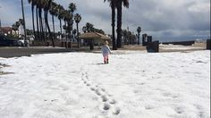 "No that's not snowfall in Long Beach,and Huntington, CA Beaches. A massive hailstorm struck the area late Monday morning, stunning residents who quickly ran outside to get a picture or play in the unusual weather. Hail was reported in areas like Huntington Beach and Long Beach – areas that have seen little precipitation of any kind in recent months due to a long-term drought that has gripped the West. ""Upper-level energy associated with Winter Storm Thor has been triggering thunderstorms…"