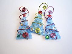 Ice Blue Tree Trio Glass Ornaments Wire by glassartelements, $30.00