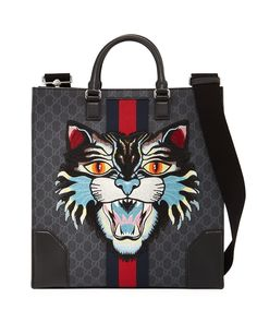 GG Supreme Tote with Embroidered Angry Cat