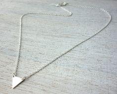Tiny Triangle Necklace, minimalist pendant charm jewelry,  girls children kids jewelry