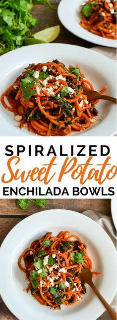 SPIRALIZED SWEET POTATO, BLACK BEAN, AND KALE ENCHILADA BOWLS!! Vegan friendly, omit cheese or replace with dairy free