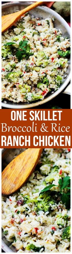 One Skillet Broccoli and Rice Ranch Chicken Recipe - An easy weeknight skillet dinner that is ready in under 30 minutes with ranch-mix seasoned chicken, broccoli and rice.