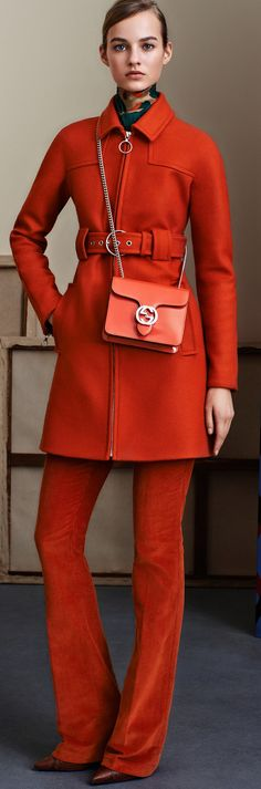 Gucci Pre-Fall 2015 I'm not comfortable in short-waist clothes but I love the orange.