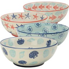 Infuse your tablescape with seaside flavor with this patterned stoneware bowl, featuring a coastal print. Product: Set of 4 bow...