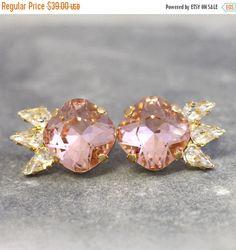 Blush Earrings Swarovski Blush Pink Studs Bridesmaids by iloniti