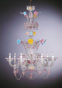 spare-parts-for-murano-chandeliers-by-eugenio-ferro Blown Glass Chandelier, Flower Chandelier, Murano Chandelier, Blown Glass Art, Chandelier Lighting, Chandeliers, Porcelain Jewelry, Porcelain Ceramics, Venetian Glass