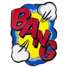 """BAM! POW! KABOOM! CRASH! BANG! Add comic fun to your walls with Bang Embossed Die Cut Tin Sign.    Featuring large red letters, a yellow and blue background, and white cloud puffs, this sign is reflective of the action symbols from vintage comics and classic super hero television shows. Hang this sign in your home theater, office, and more for instant action!        Dimensions:      Length: 12""""    Width: 9""""          Hanging Hardware: 2 Nail Hole Cut-Outs        Full Text…"""
