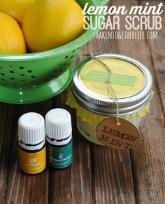 "Lemon Mint Sugar Scrub – Only 5 Ingredients! If there is a scent that always, always, always makes me happy, it is fresh squeezed lemons!  Those bright yellow fruits just scream, ""Cheer up! Life is short!  You've got me, now make lemonade!""  So, partner my favorite cheery citrus with perk-me-up peppermint and you have one heavenly combo!  You are going to LOVE this easy, DIY uplifting lemon mint sugar scrub! ~ Heidi ~ YL Distributor #1462769"