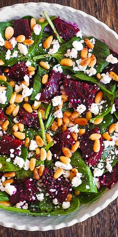 Beet Salad with Spinach, Goat Cheese, Pine Nuts - Spring - Salat Beet Salad With Feta, Roasted Beet Salad, Beet Salad Recipes, Salad With Feta Cheese, Pine Nut Salad Recipe, Spinach Feta Salad, Pine Nut Recipes, Vegetarian Recipes, Cooking Recipes