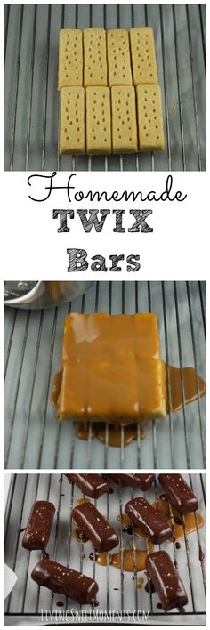 Homemade Twix Bars - Crunchy cookies, luscious caramel and a delicious chocolate topping. So easy to make and no candy thermometer needed!